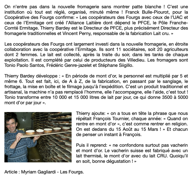 Article Fromagerie Myriam Les Fourgs